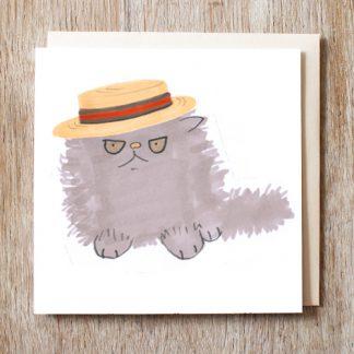 Cat in Boater Hat Card