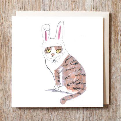 Cat In Bunny Hat Card