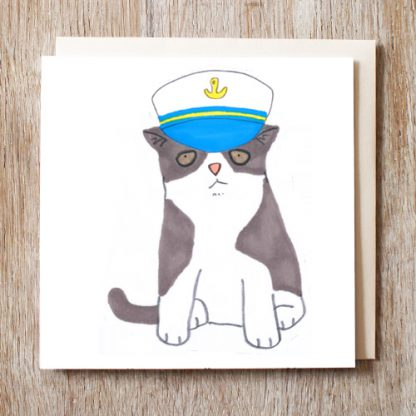 Cat In Captains Hat Card