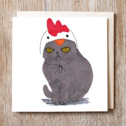 Cat In Chicken Hat Card