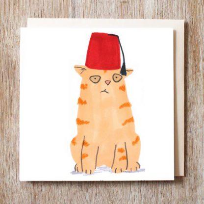 Cat In Fez Hat Card