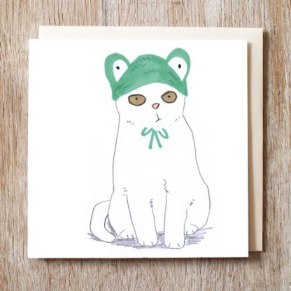 Cat In Frog Hat Card
