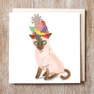 Cat In Fruit Bowl Hat card
