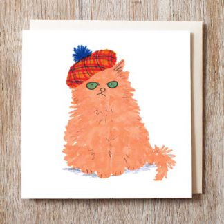 Cat In Tartan Hat Card