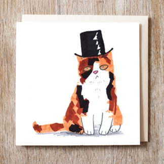 Cat In Top Hat Card