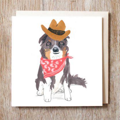 Border Collie Cowboy Card