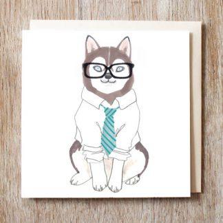 Husky Hipster Card