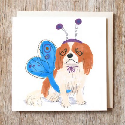 King Charles Spaniel Butterfly Card