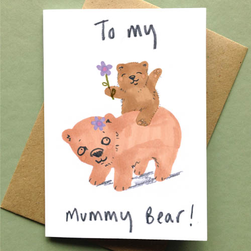 Bear Cub On Mother's Back - To My Mummy Bear