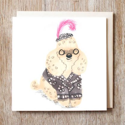 Poodle Pearly Queen Card