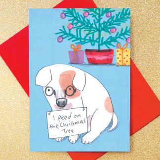 'I Peed On The Christmas Tree' dog shaming christmas card