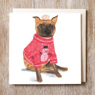 Staffy in Christmas Jumper Pack Of Six Christmas Cards
