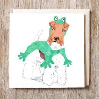 Wire Fox Terrier Frog Card