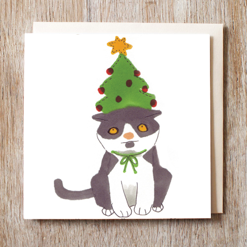 Christmas Tree Made Of Black Cats: Black And White Cat In A Christmas Tree Hat Card