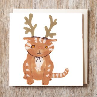 Cat in reindeer hat festive Christmas card