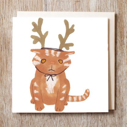 Cat in reindeer hat festive Christmas card