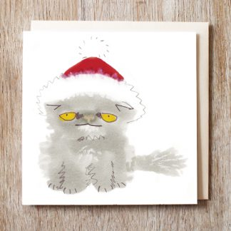 Cat in a santa hat festive Christmas Card