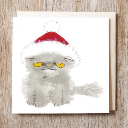 Cat in a santa hat festive Christmas Card
