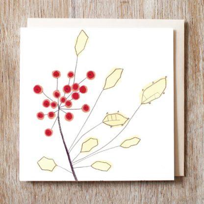 Holly Sprig Festive card