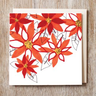Poinsettia Festive Card