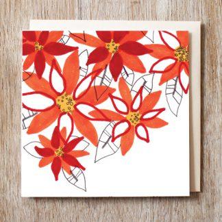 Poinsettia Festive Card