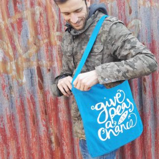 Recycled Sling Tote Bag Give Peas A Chance