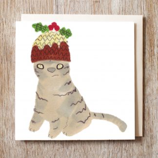 Cat in a figgy pudding hat festive Christmas card