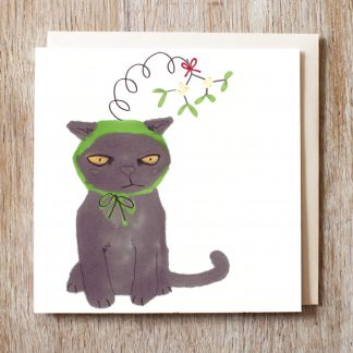 Cat in a kiss me quick hat festive Christmas card