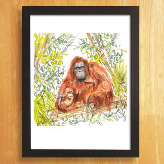 Orangutan and Baby Print