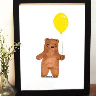 Bear And Yellow Balloon Print