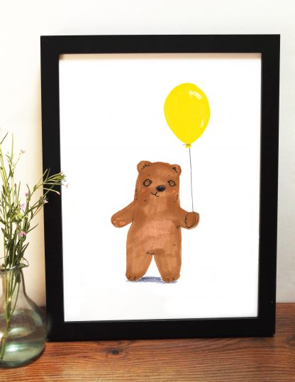 Bear And Yellow Balloon Print