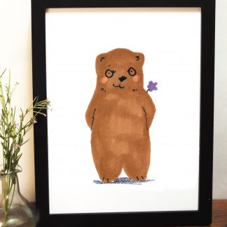 Bear Suprise Flower Print