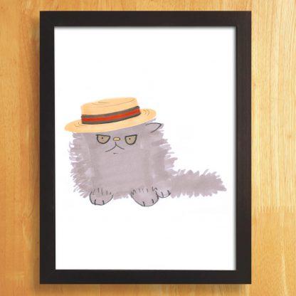 Cat In Boater Hat Print