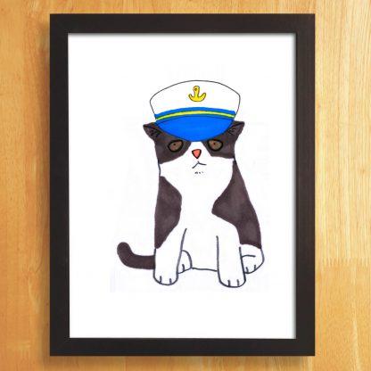 Cat In Captains Hat Print
