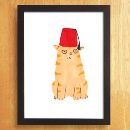 Cat In Fez Hat Print