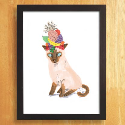Cat In Fruity Hat Print