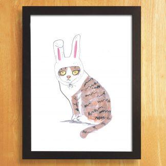 Cat In Bunny Hat Print