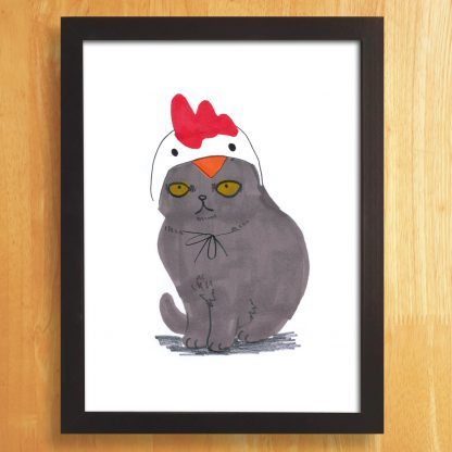 Cat In Chicken Hat Print