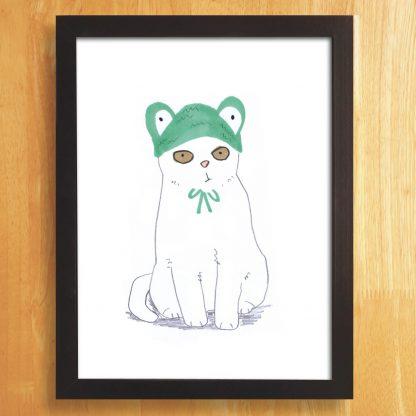 Cat In Frog Hat Print