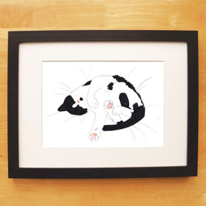 Cat Nap Print Black & White Snoozing Cat