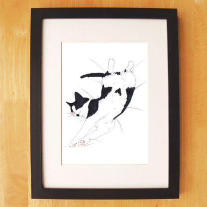 Cat Nap Print Black & White Stretching Cat