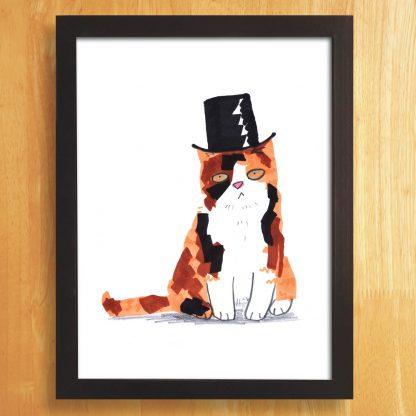 Cat In Top Hat Print
