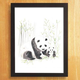 Panda & Cub Art Print