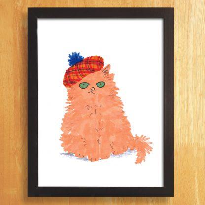 Cat In Tartan Hat Print