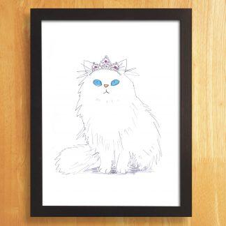 Cat In Tiara Print