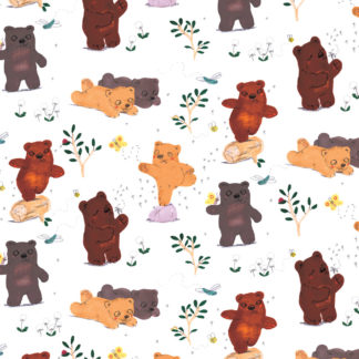 woodland bears gift wrap