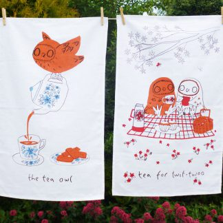 Set of two 'The Tea Owl' & 'Tea For Twit-Twoo' tea towels