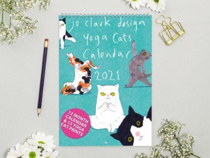 yoga cats calendar 2021 product shot