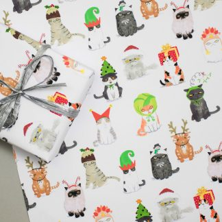 Cats in hats Christmas gift wrap