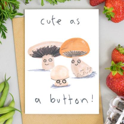 cute as a button mushroom new baby card